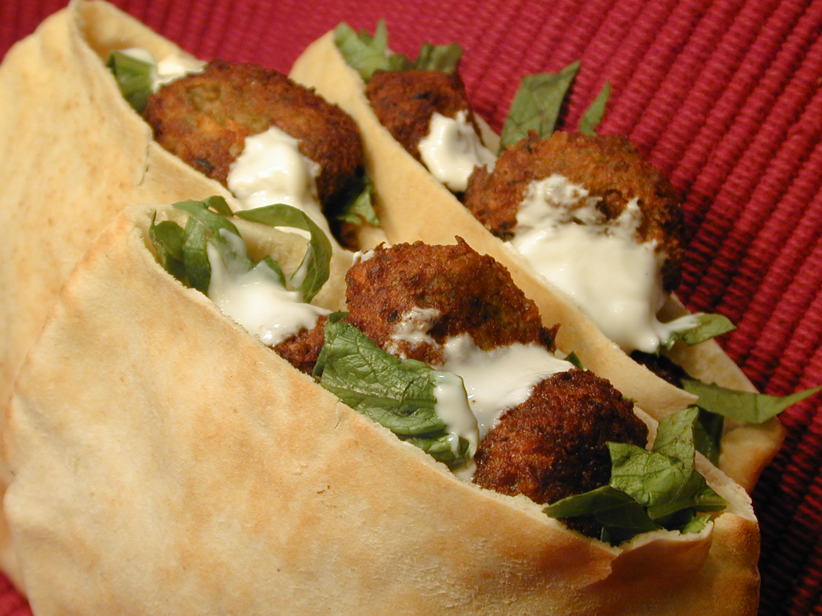 Falafel on pita bread