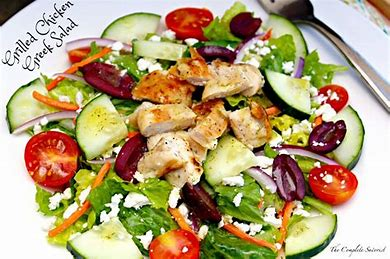 Grilled Chicken Greek Salad with Soup